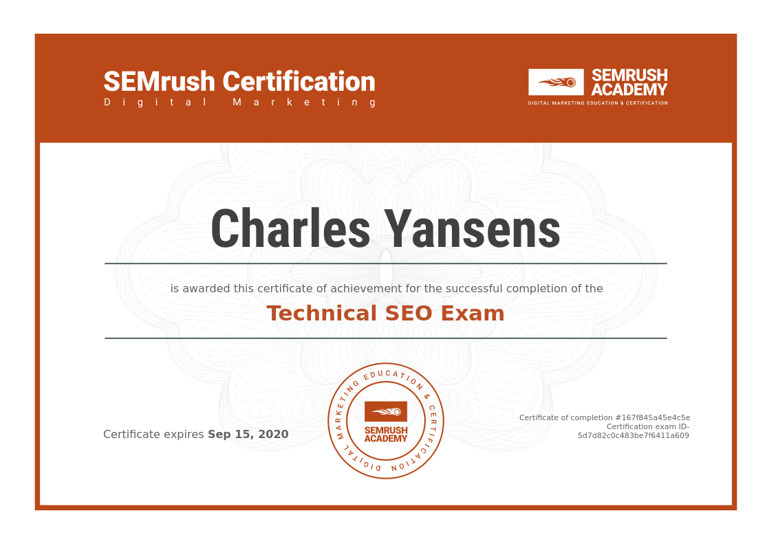 Sertifikat Technical SEO Exam SEMRush: Charles Yansens