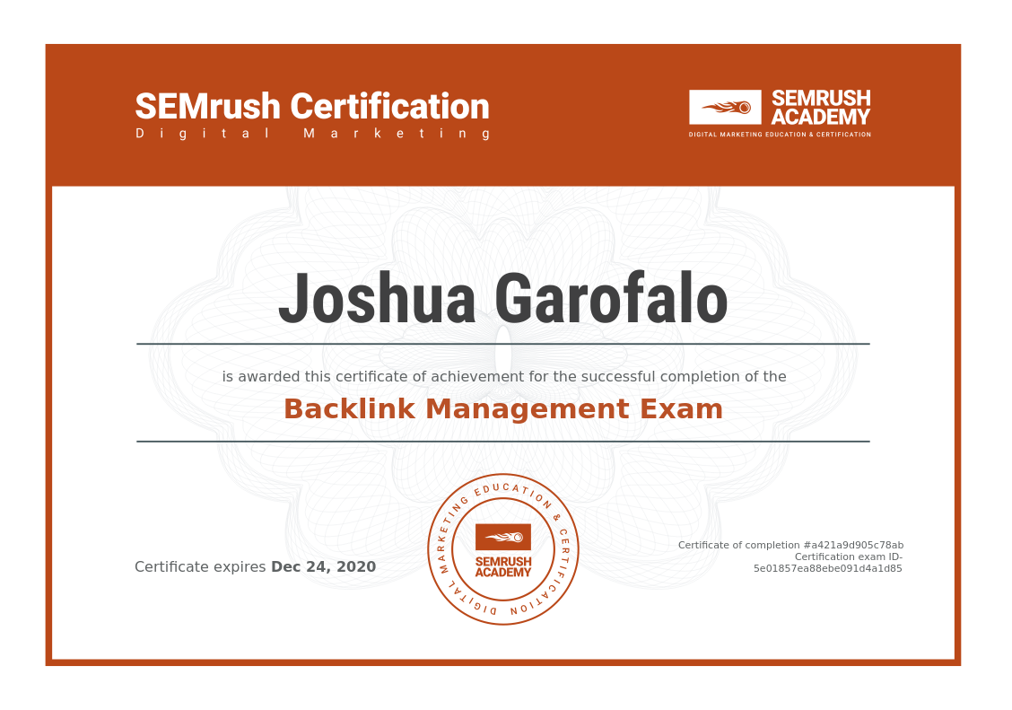 Backlink Management Certification