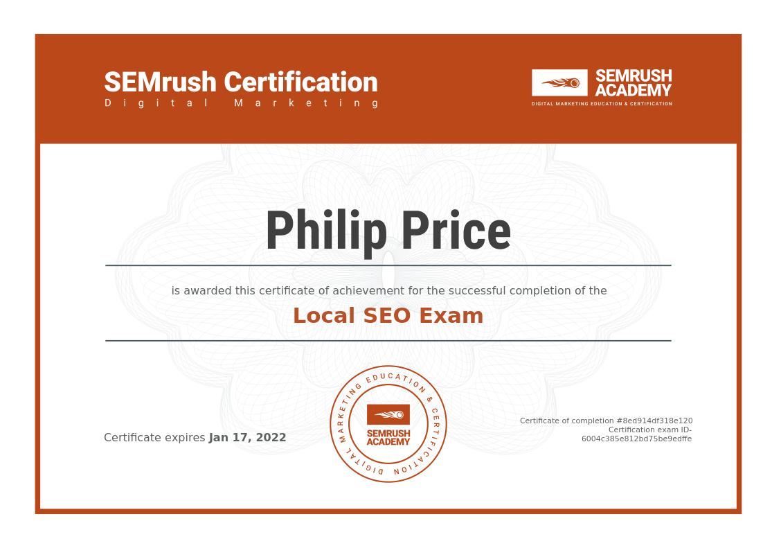 SEMRush Local SEO Certification