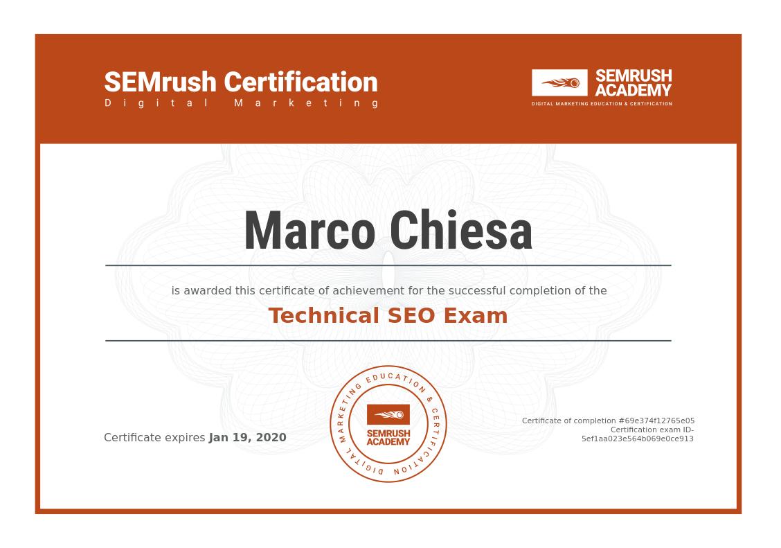 certificazione SEMrush di Marco Chiesa