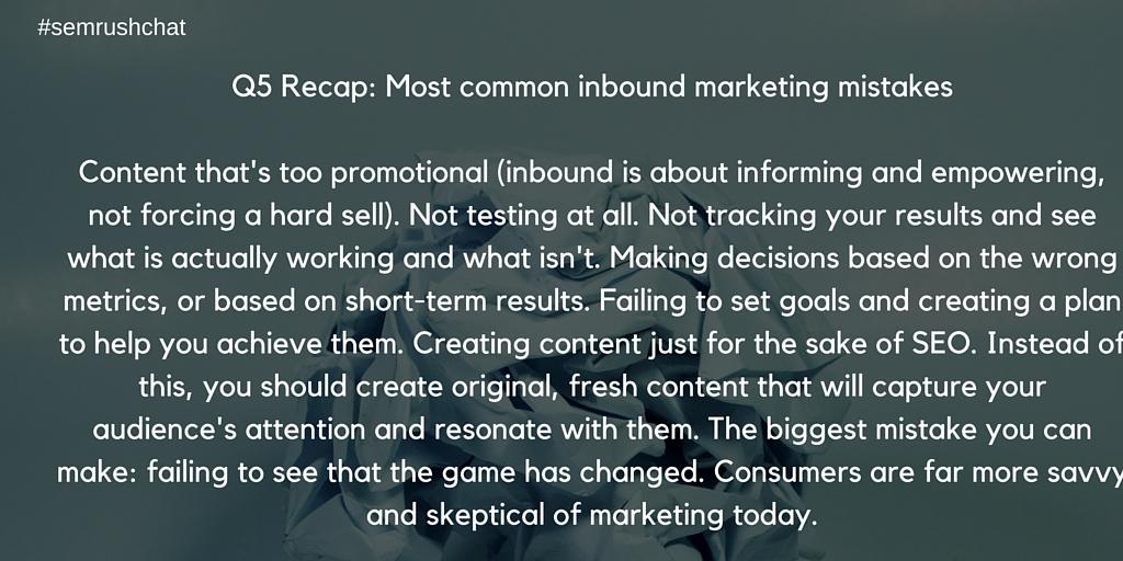 Most common inbound marketing mistakes