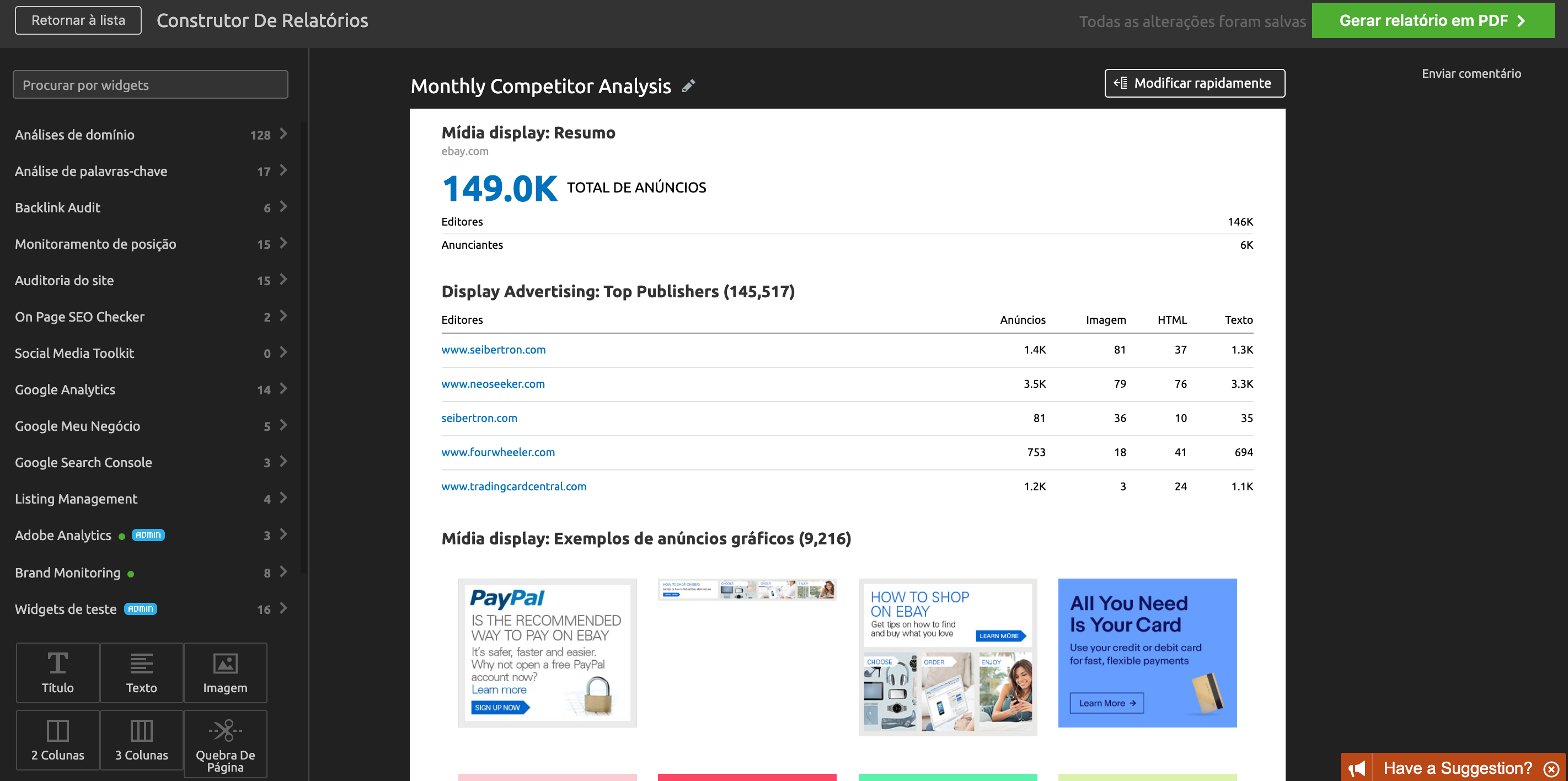 Monitoramento de concorrentes e relatórios automatizados da SEMrush. Imagem 2