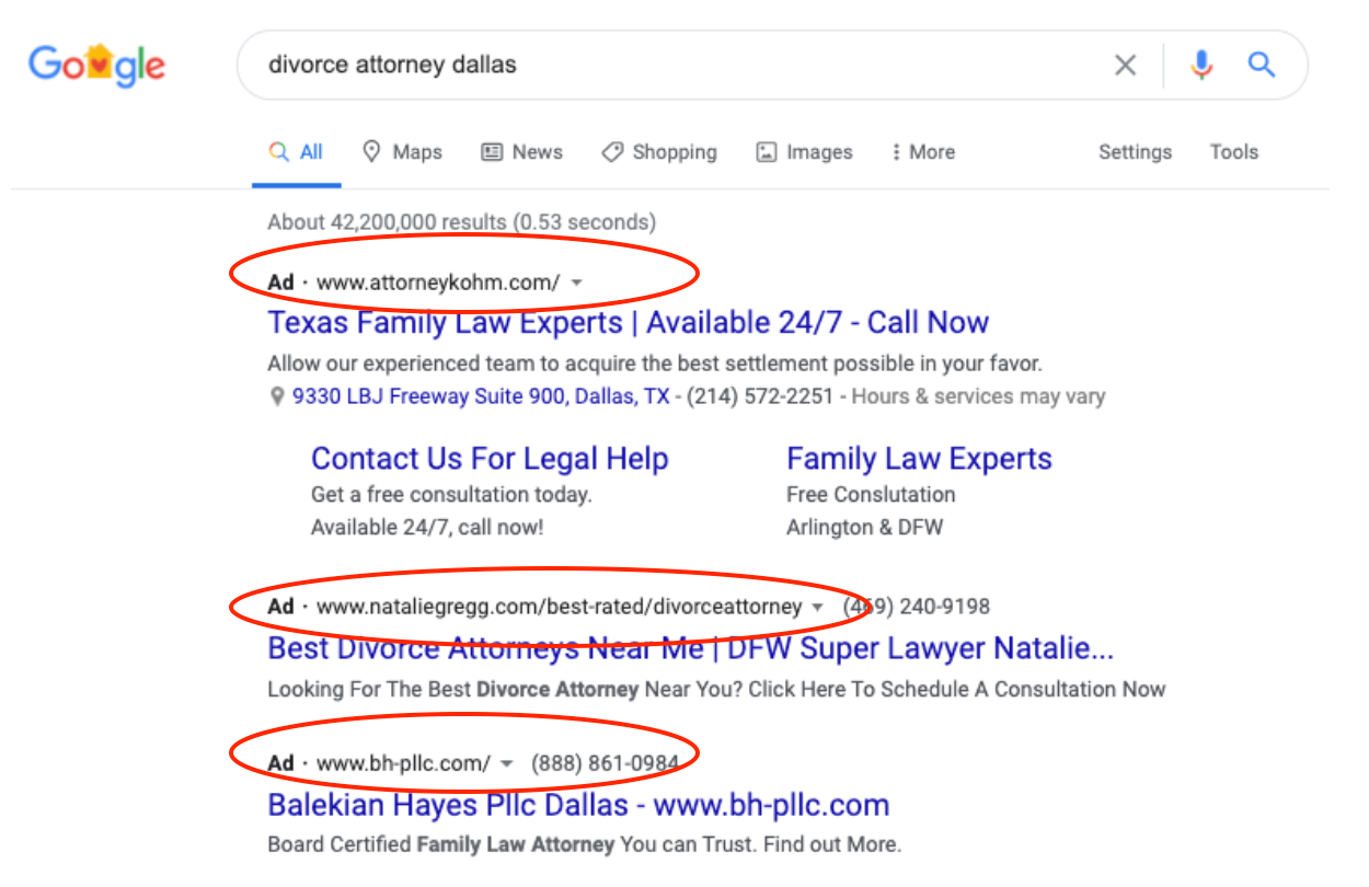 Google SERP example for analysis
