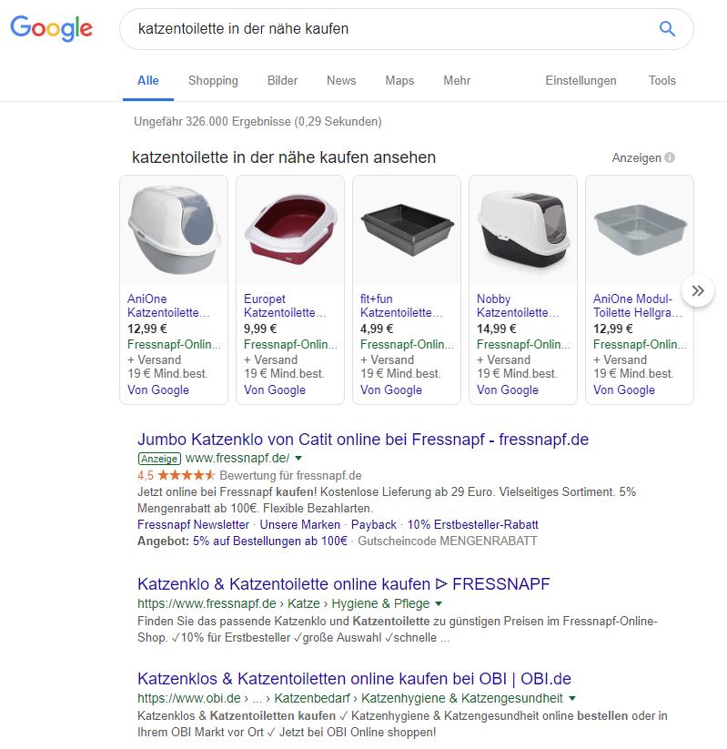 Google-Suchergebnis für 'Katzentoilette in der Nähe kaufen'