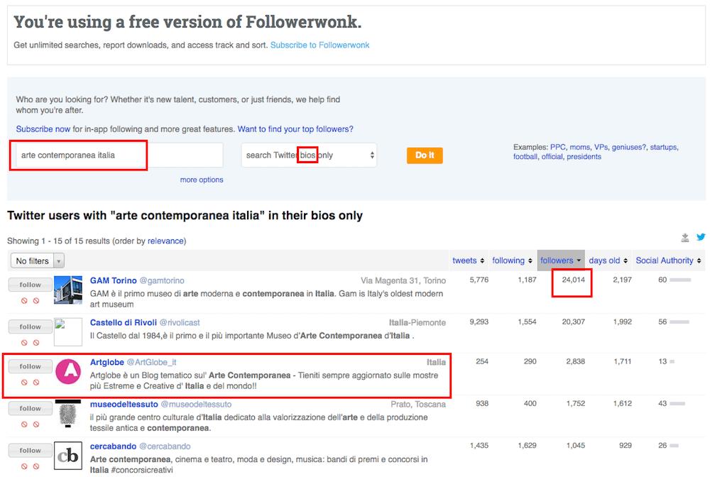 Digital pr: Followerwonk ti aiuta a trovare influencer su Twitter