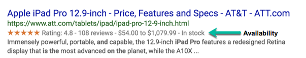 A screenshot of a rich result for an iPad Pro at Best Buy which clearly shows the availability of the item to the user