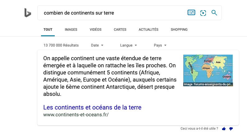 Featured Snippets Bing