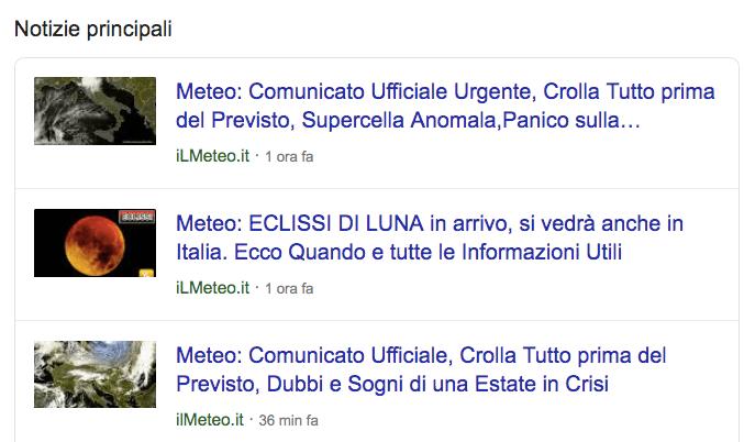 Le notizie principali(top stories) come funzionalità delle serp appaiono cosi