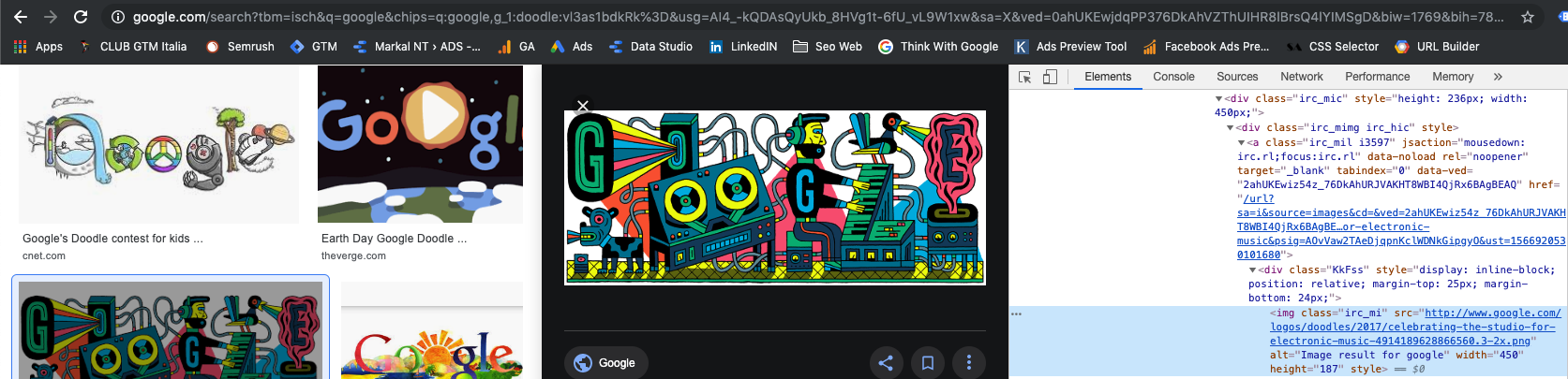 Immagine chrome inspector sulla ricerca immagini google
