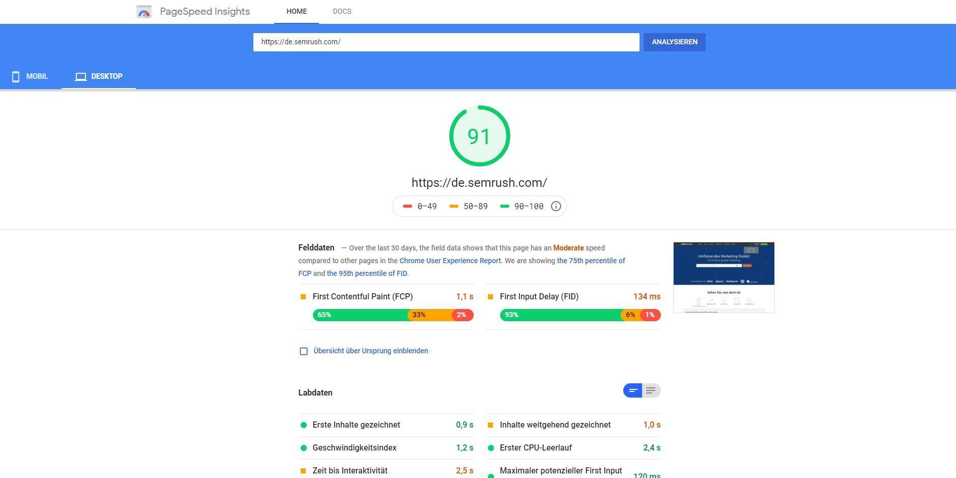 PageSpeed Insights: Desktop