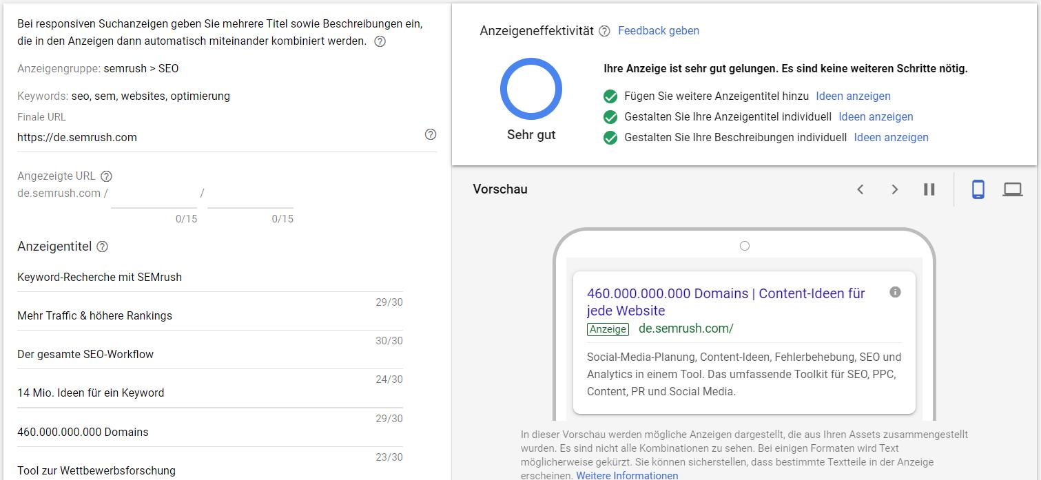 Google Ads: Responsive Anzeige anlegen