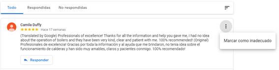 Reseñas en Google My Business - Reseña inadecuada