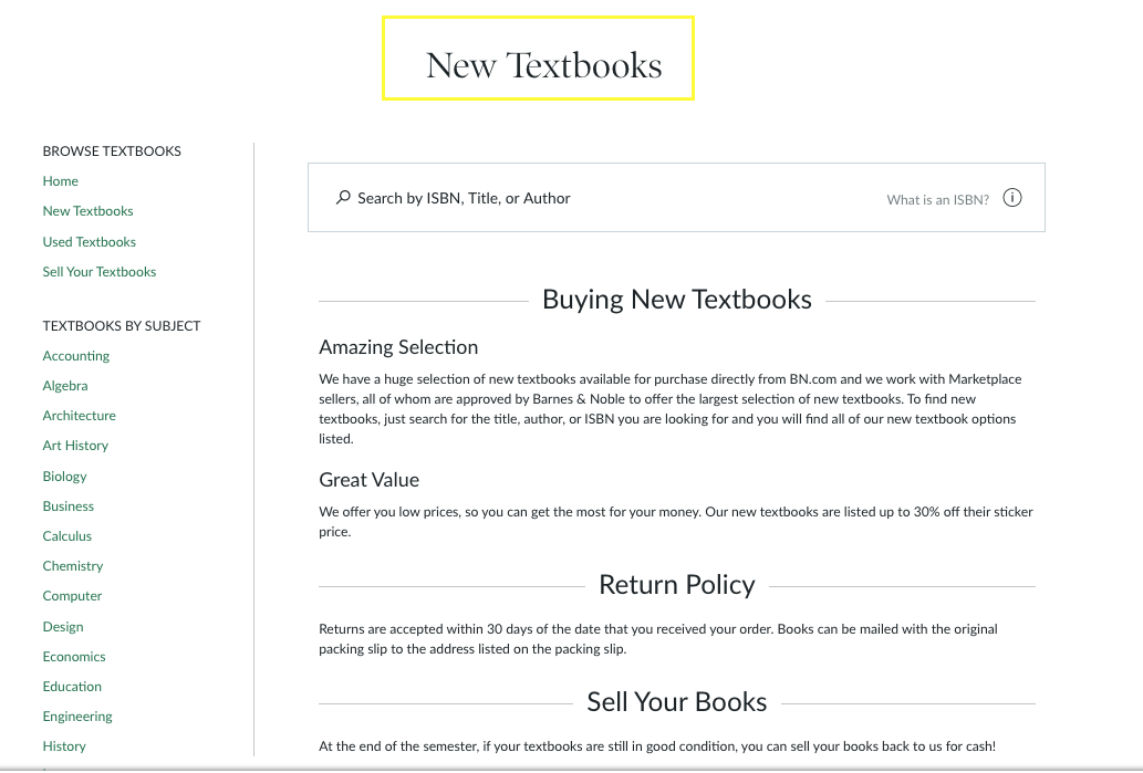 barnes and noble new textbooks h1 screenshot