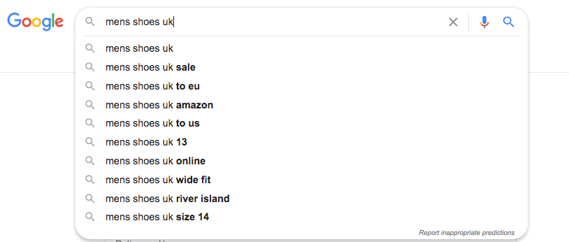 Using Google autosuggest for commerce terms