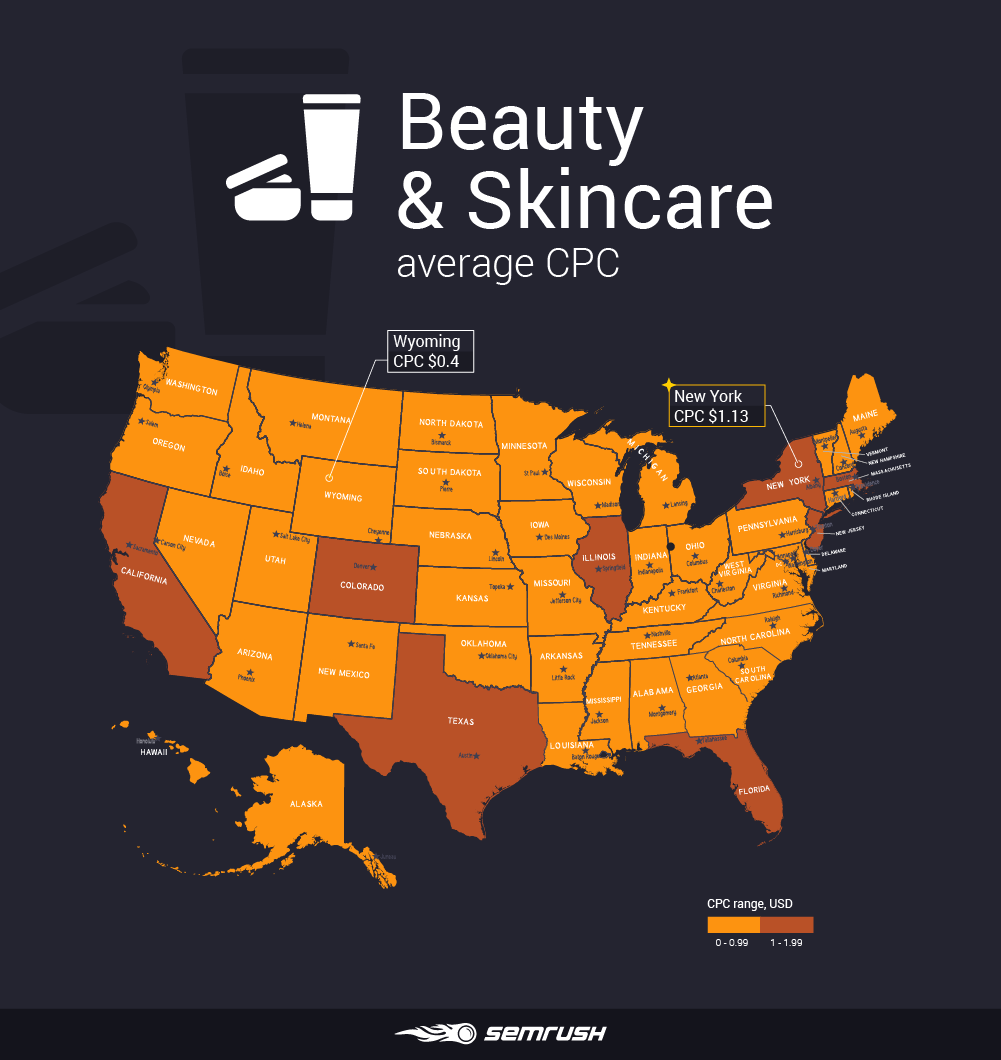 Most and least expensive states to advertise in - Beauty & Skincare