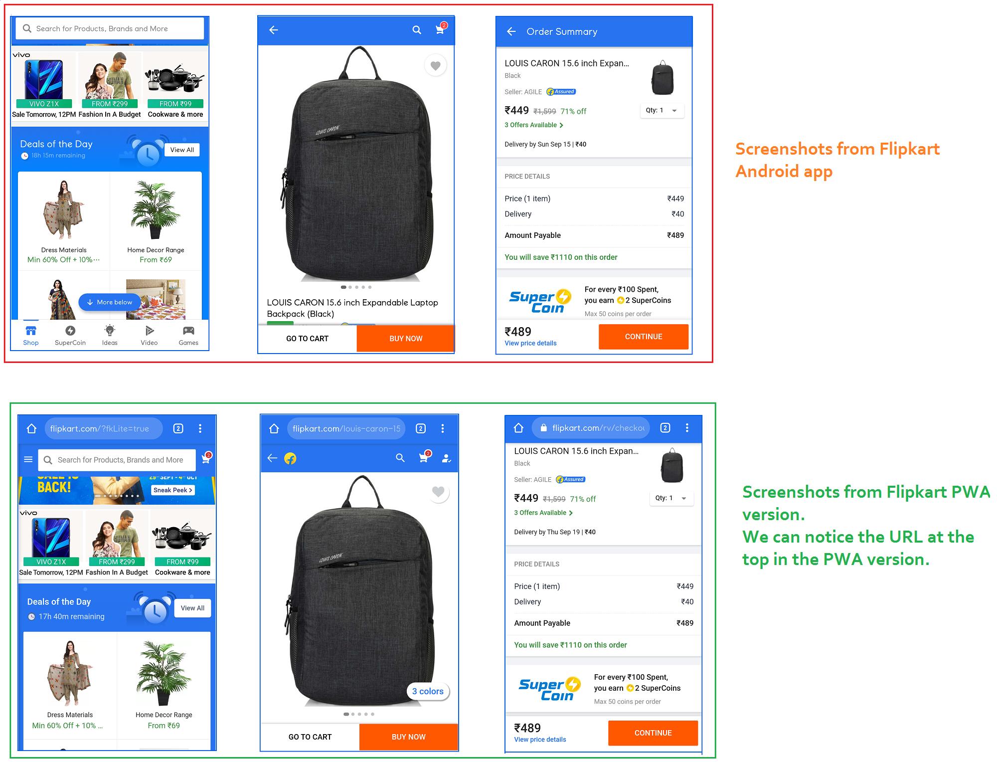 Flipkart Android App vs PWA