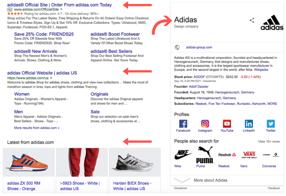 Adidas results on SERP