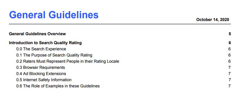 Google Webmaster Guidelines screenshot