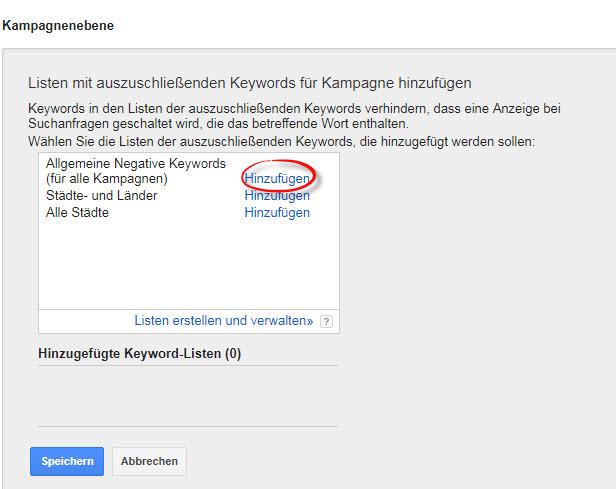 Negative Keywordsliste AdWords hinzufügen