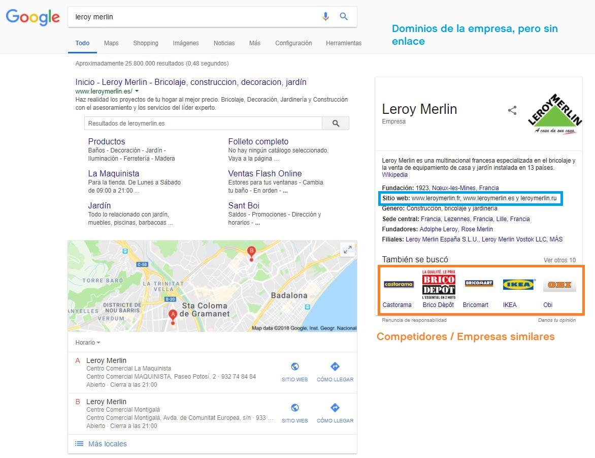 Knowledge Graph - SERP de Leroy Merlin