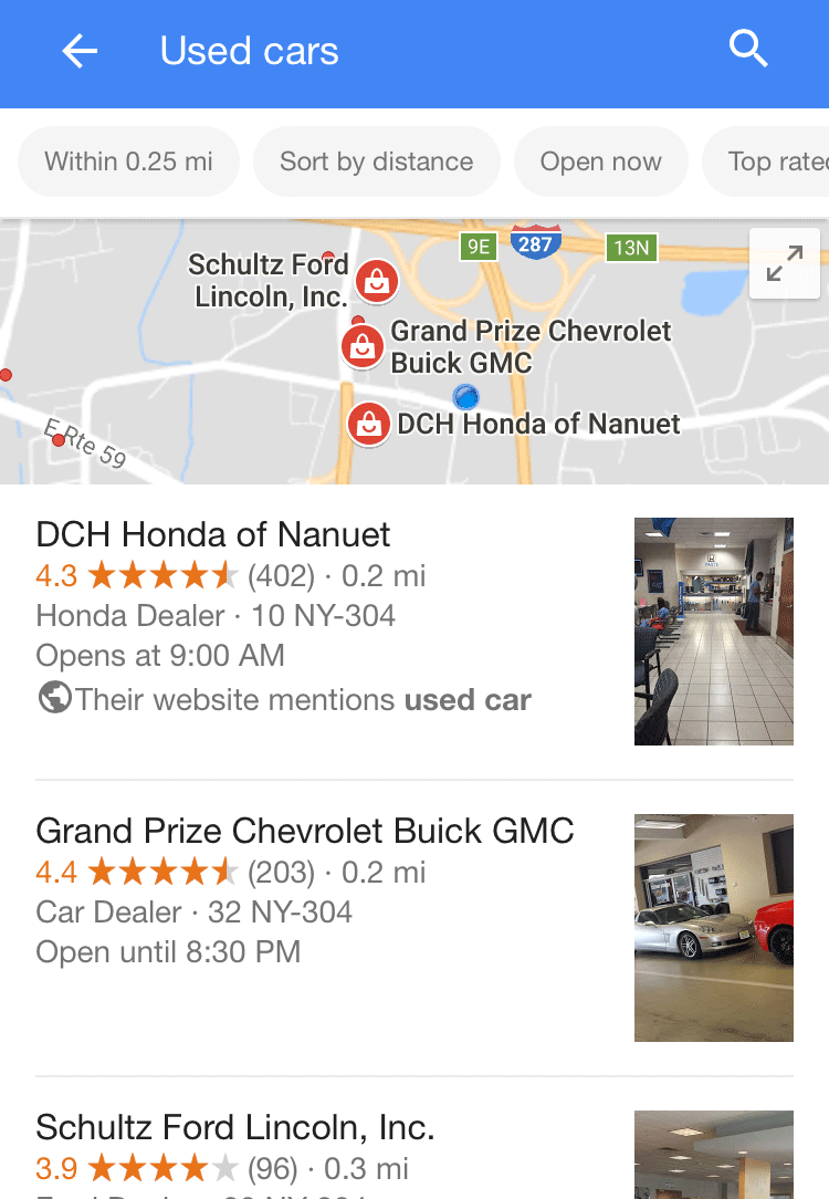 Google Local Pack query mentions