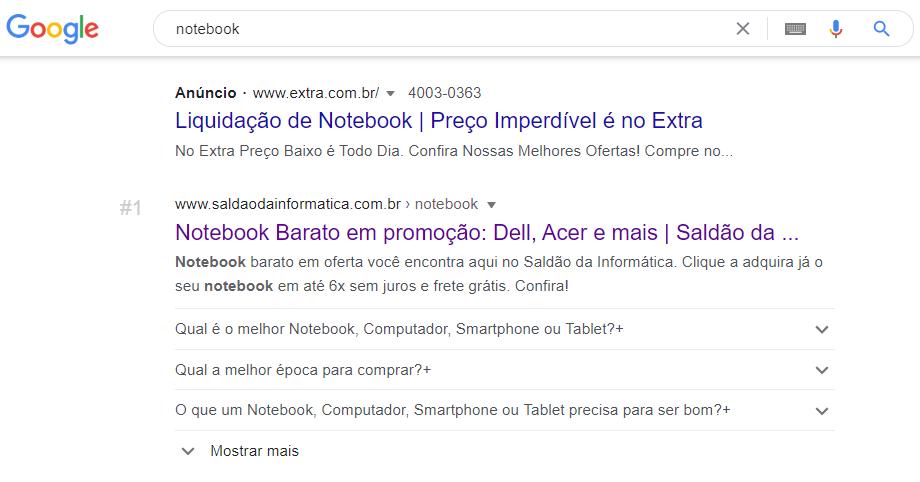 Primeira posição para Notebook com FAQPage