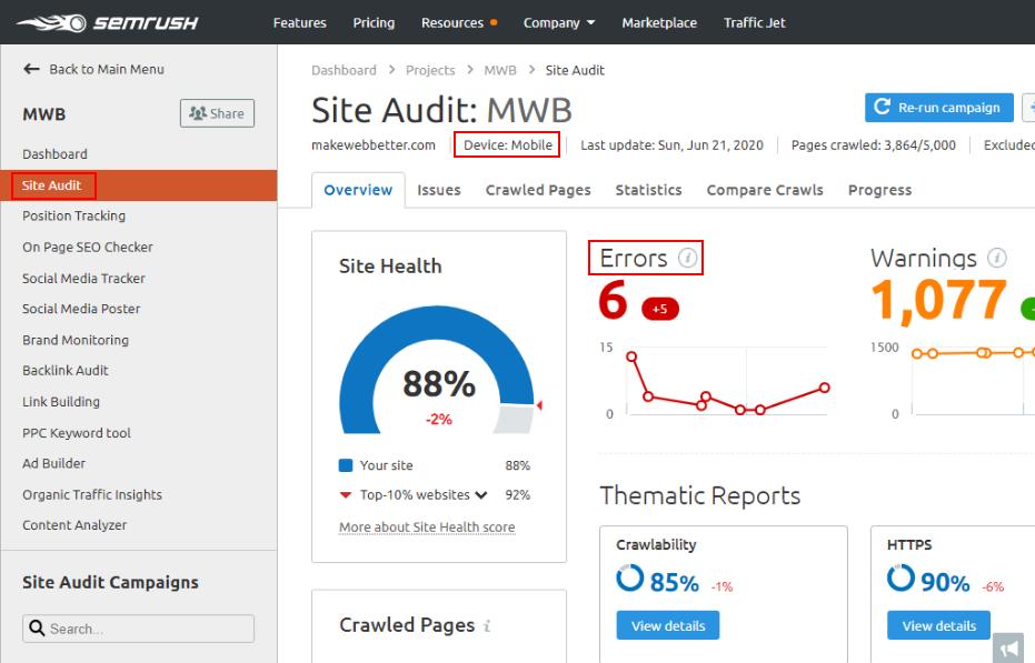 site audit tool data from semrush