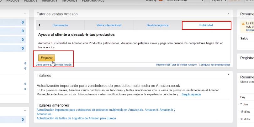 Publicidad en Amazon - Creación de campaña