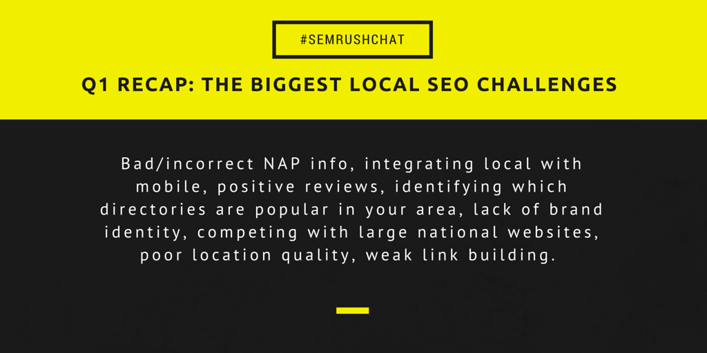 Recap for the biggest local SEO challenges