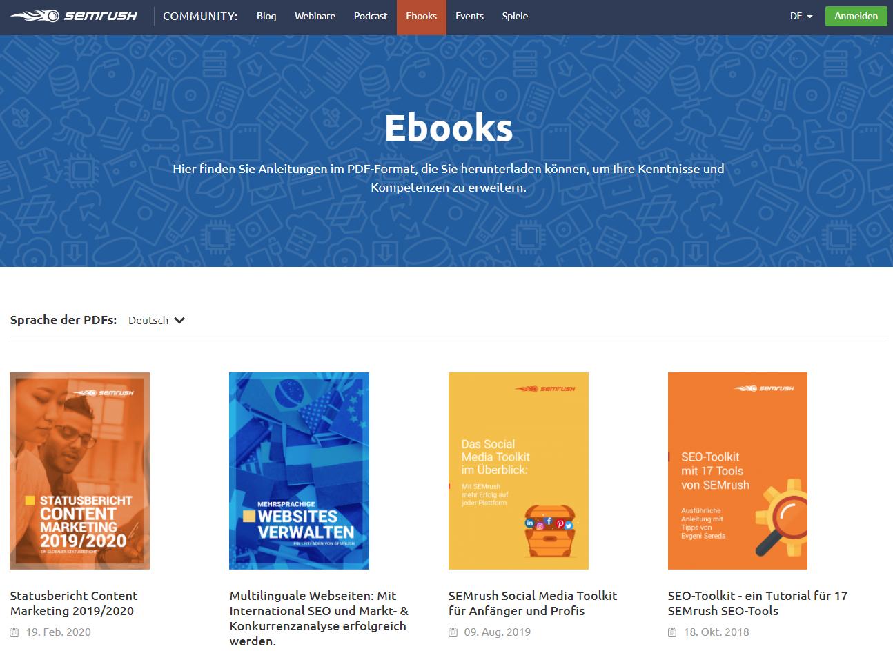 E-Books auf der SEMrush-Website