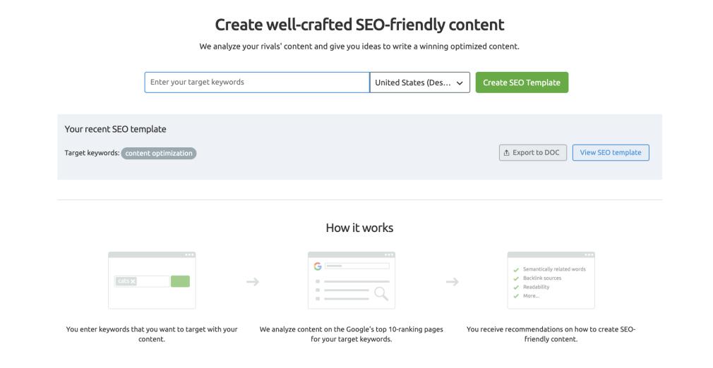 Semrush for content marketing - SEO Content Template