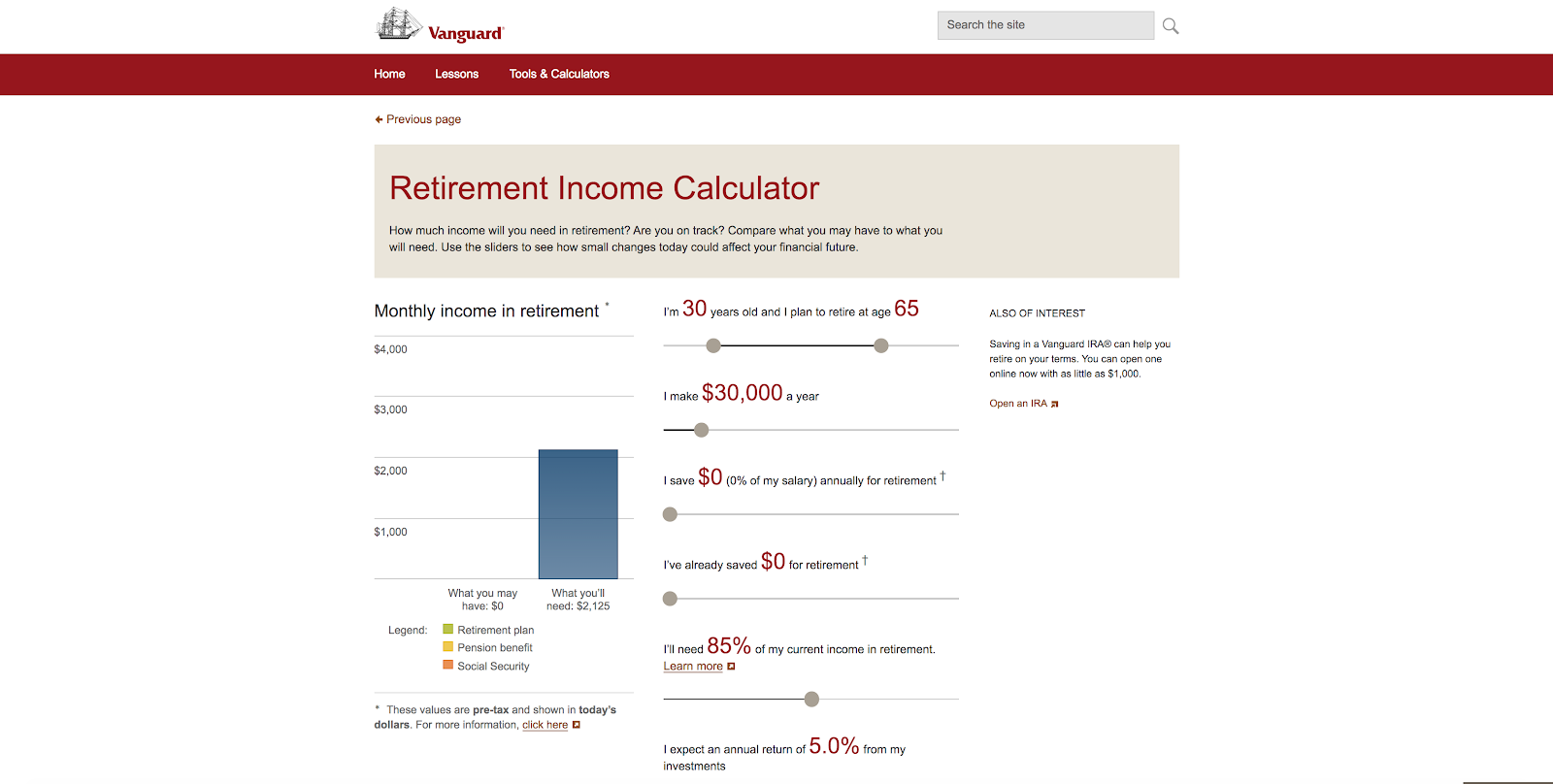 example of an online calculator to help create trust