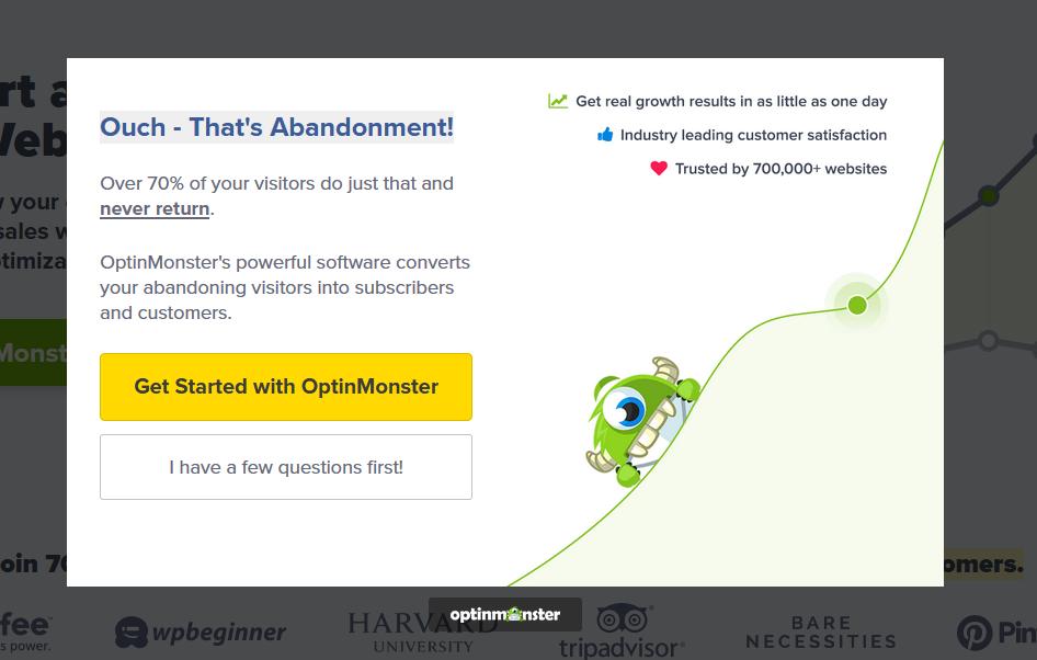 Optinmonster exit-intent popup