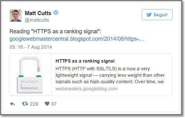 Matt Cutts afirmou melhora posições com o uso do Https
