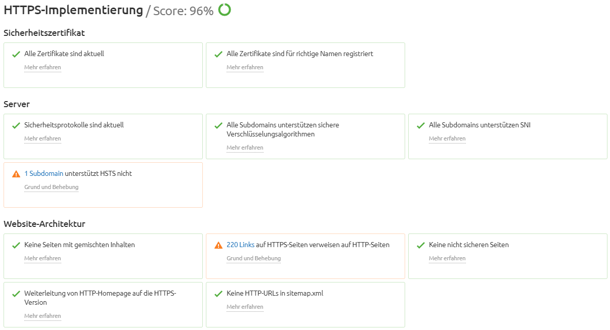 Screenshot: HTTPS-Prüfung im Semrush Site Audit