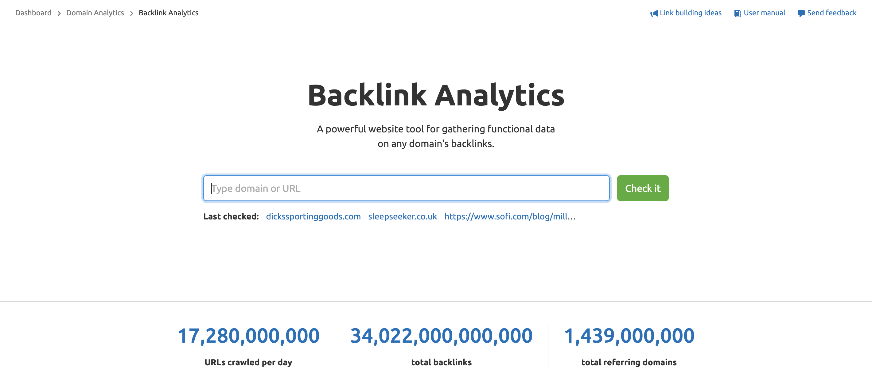 SEMrush Backlink Analytics Tool screenshot