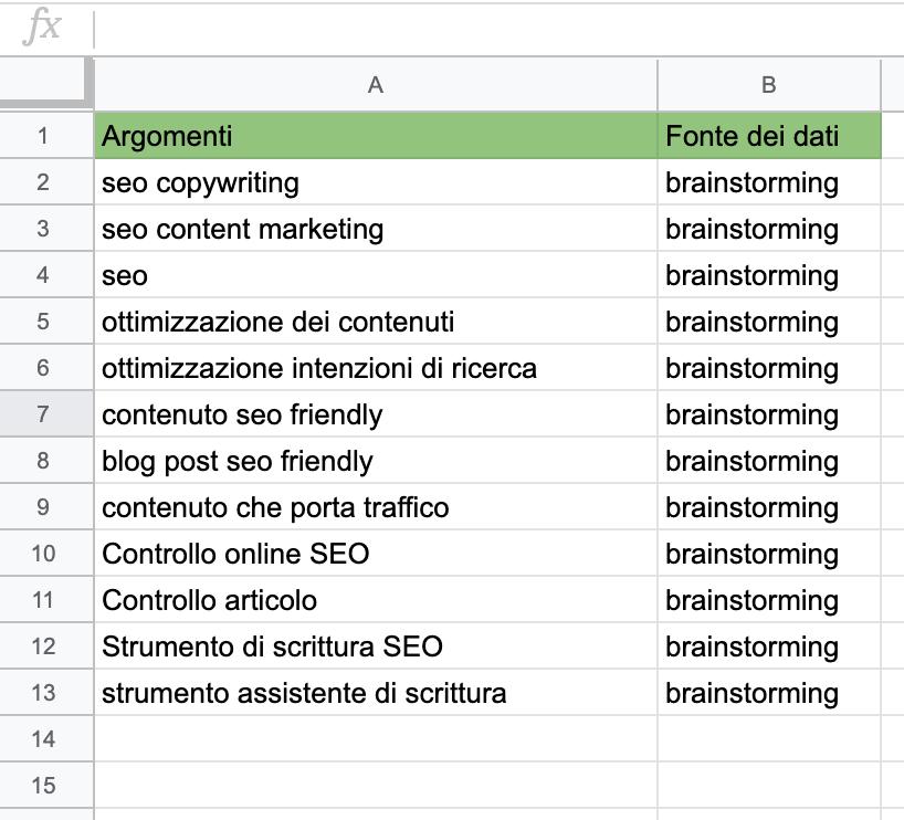 raccolta degli argomenti in un file