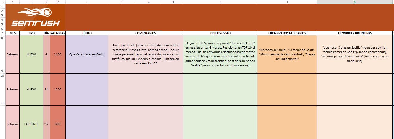 Calendario de contenido para seo - Modelo