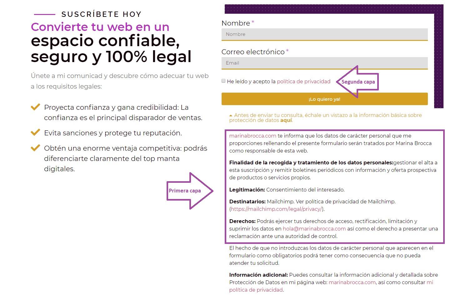 Lista de suscriptores - Modelo de formulario legal