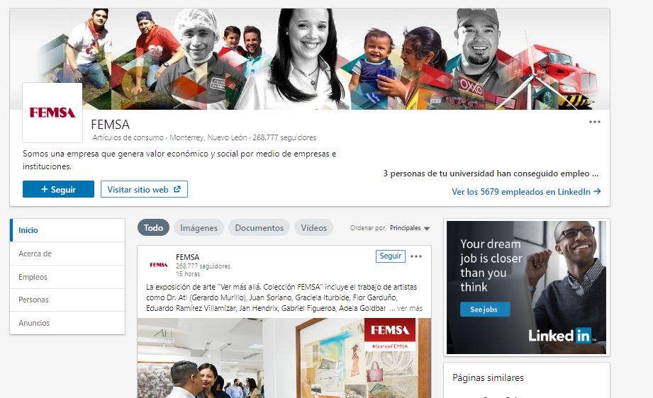Páginas de empresa en LinkedIn - Ejemplo FEMSA