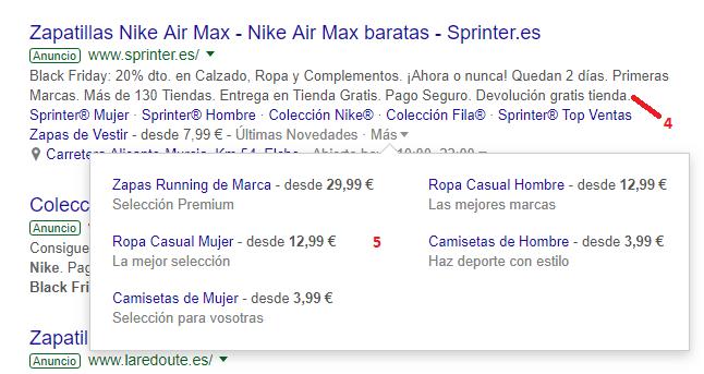 Extensiones de anuncio de Google ads