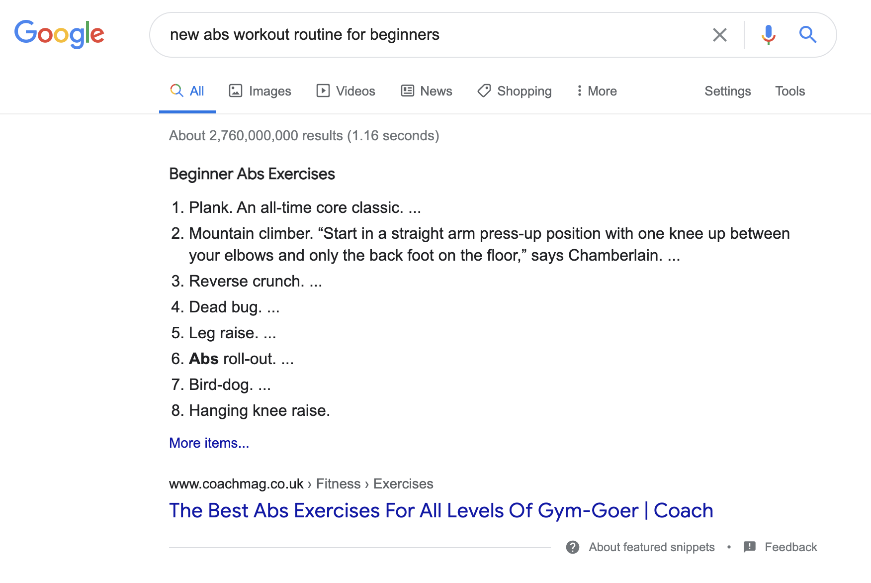 abs workout routine featured snippet