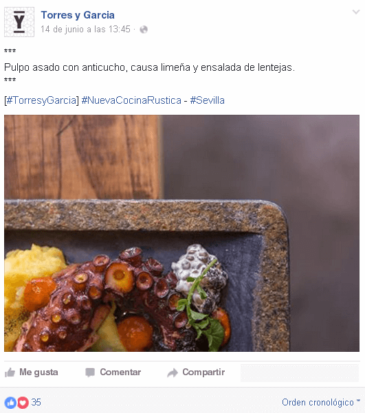 Redes Sociales para restaurantes - Buen post en Facebook