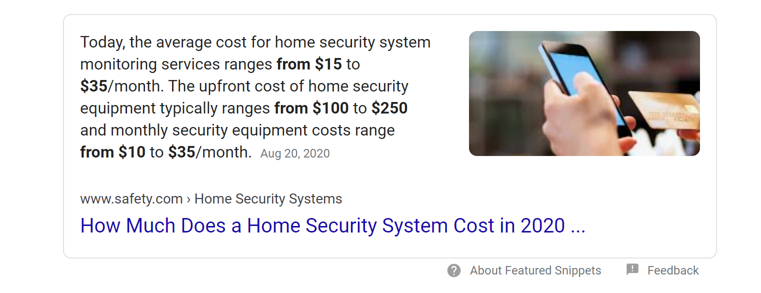Google Featured Snippet screenshot