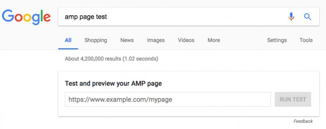 AMP page test on SERP
