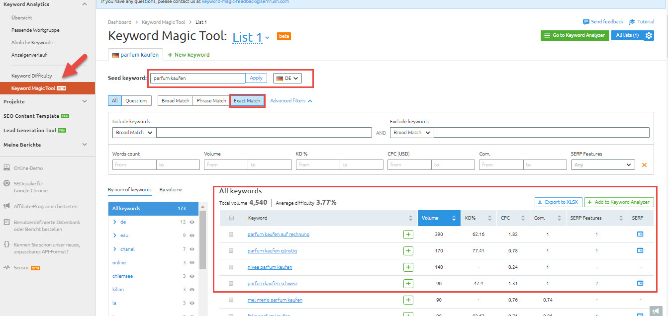 Keyword Magic Tool von SEMrush