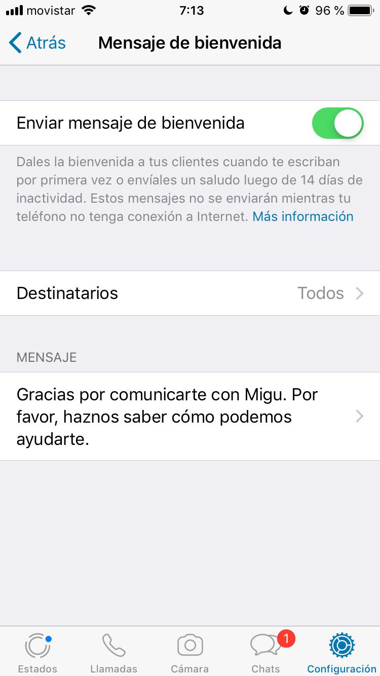 Mensaje de bienvenida en Whatsapp Business