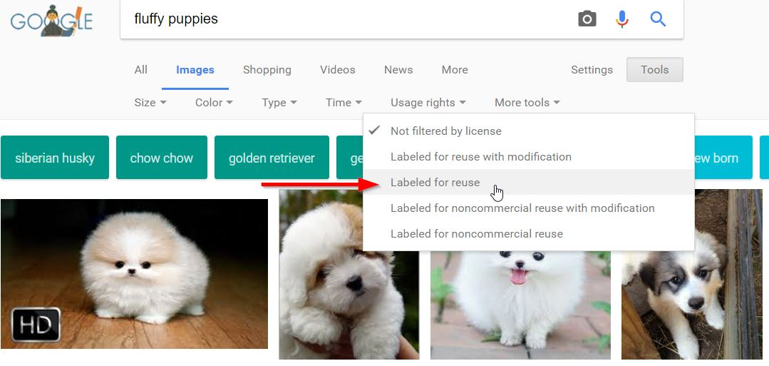 Using Google to find free images