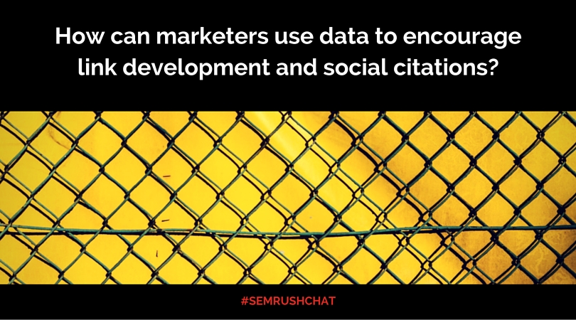 How can marketers use data to encourage link development and social citations?