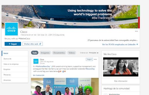 Páginas de empresa en LinkedIn - Ejemplo CIsco
